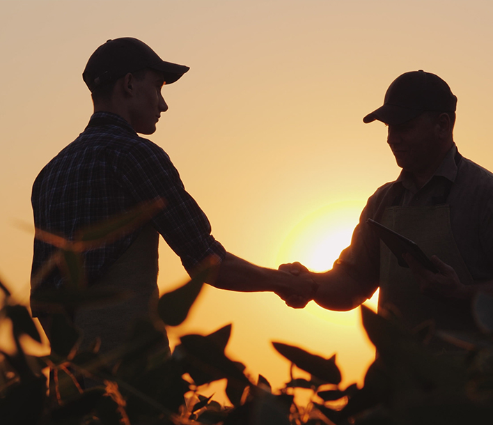 Two farmers shaking hands in field